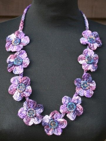 Violet Flowers Necklace Crochet Pattern